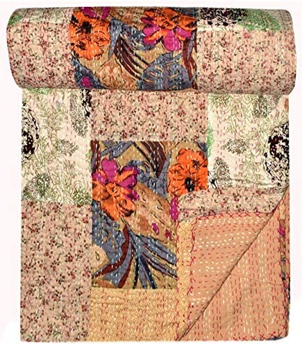Kantha Quilt BedSpread Handmade Indian Throw Vintage Gudari Bed Sheet Home Decor
