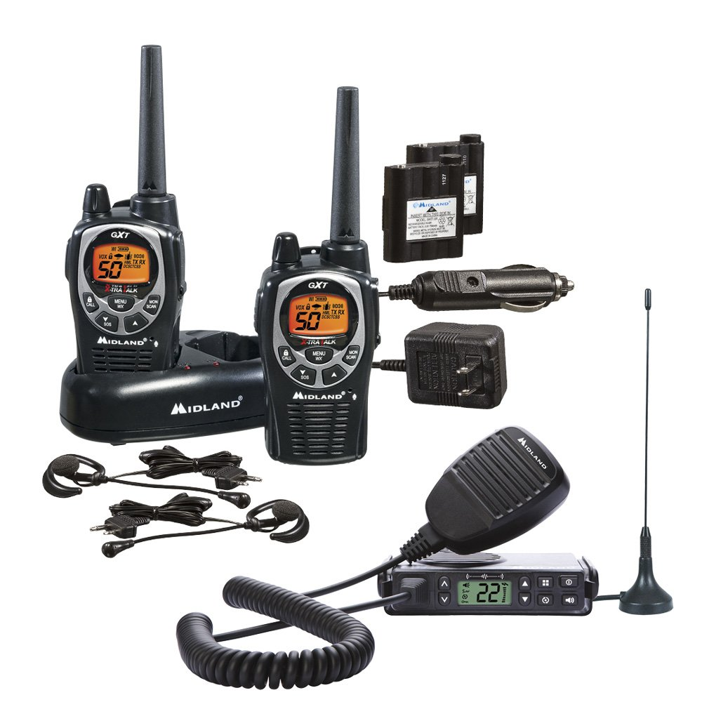 Midland Consumer Radio GXT1000XB Micro Mobile 5W Gmrs with A Portable 36-Mile 50-Channel GMRS Two-Way Radios Bundle by Midland (Image #1)