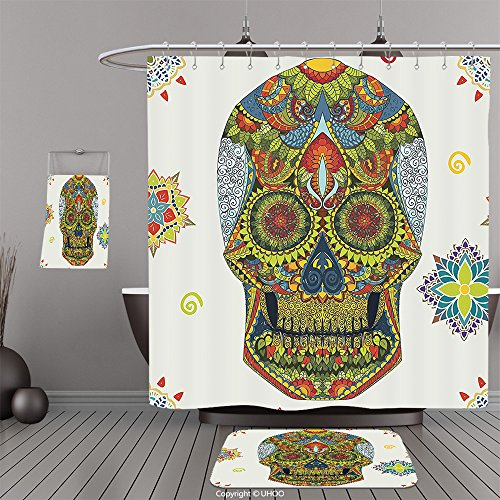 Three Stooges Mask (Uhoo Bathroom Suits & Shower Curtains Floor Mats And Bath TowelsDay Of The Dead Decor Dia de Los Muertos Celebration Mask Skull with Indian Paisley Details MulticolorFor Bathroom)