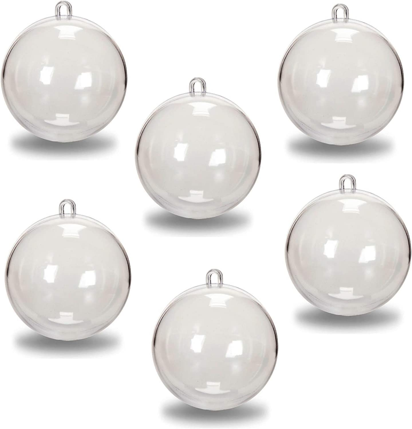 Santa's Studio Package of 12-80mm Clear Acrylic Fillable Christmas Tree Ornaments