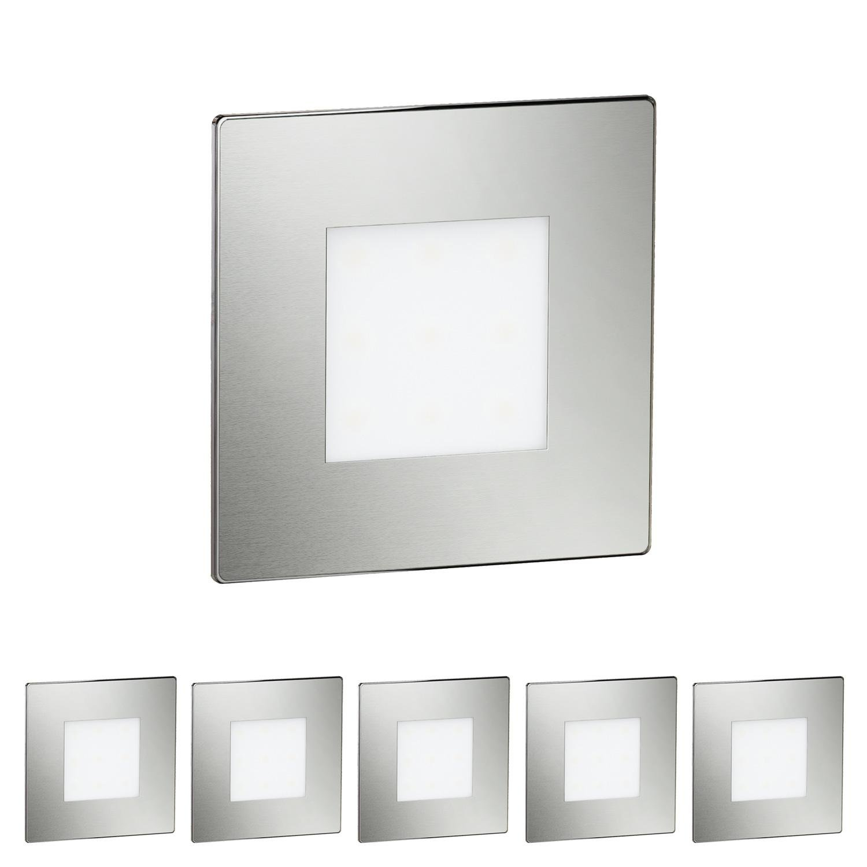 Chrom matt   Lichtfarbe  warmWeiß ledscom  LED Treppen-Licht Stufenbeleuchtung, eckig, 8,5x8,5cm, 230V, warm-weiß, 6 STK.