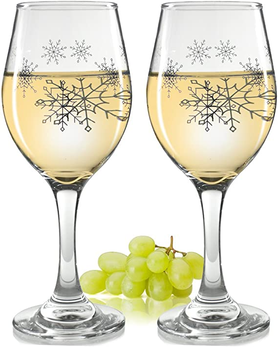Holiday Snowflake Wine Glasses - Set of 2 Standard Wine Glasses - Silver Snowflake Design - 14 oz