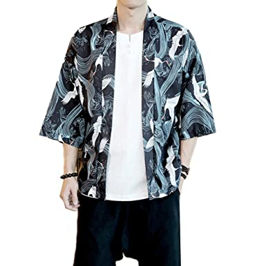118ec4e4e4d095 Mens Kimono Japanese Cardigan Jacket Yukata Coat Top (Asian Size L, Black)