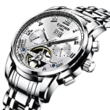TIDOO Mens Silver Steel Band Mechanical Automatic Wrist Watch with Link Bracelet