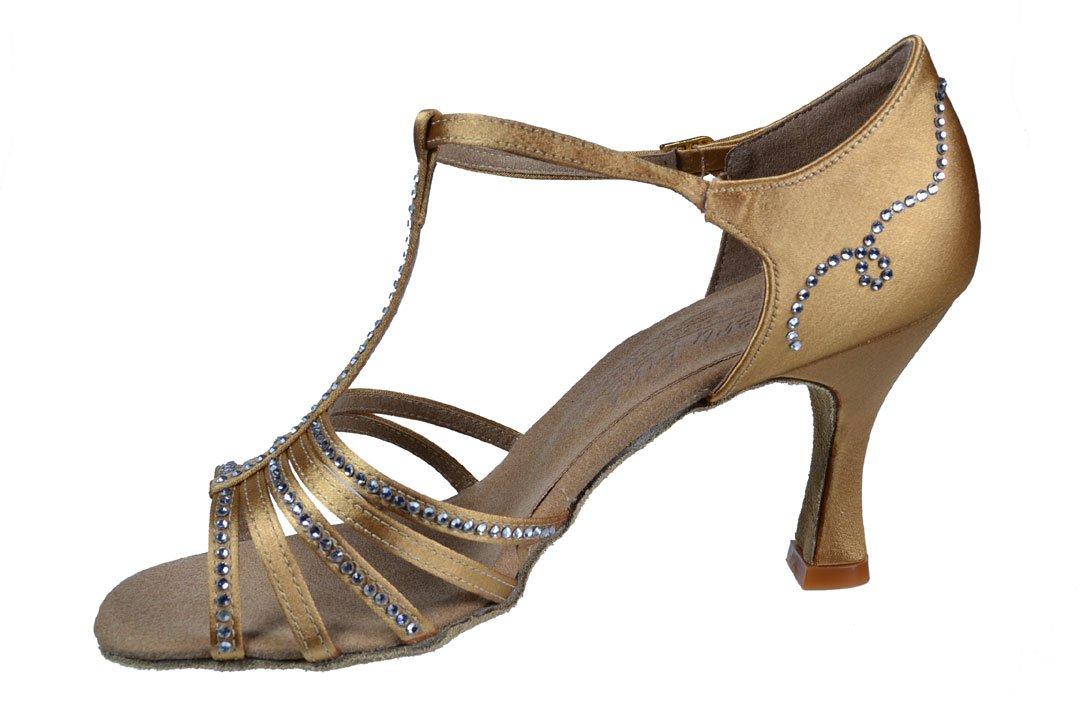 Ladies' Latin Rhythm Salsa Signature S9273 Tan Satin Rhinestone 3'' Heel (7M)