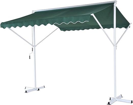 Outsunny 3 x 3 m 2 libre de pie manual laterales toldo jardín al aire libre, Parasol con manivela (verde).: Amazon.es: Jardín