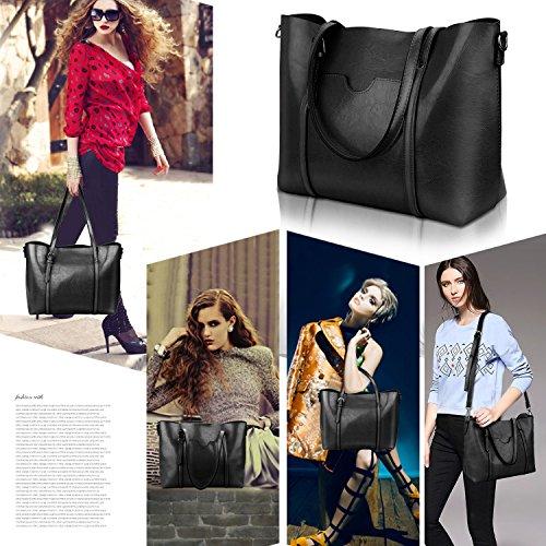 Women Top Handle Satchel Handbags Shoulder Bag Tote Purse Greased Leather Iukio (Black) by IUKIO (Image #2)