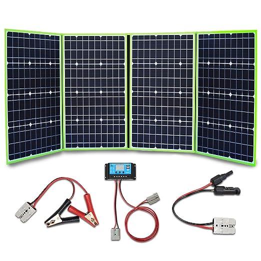 XINPUGUANG 200w 4x 50 vatios 12v Panel solar Monocristalino Cargador solar plegable 20A Controlador Cable fotovoltaico PV Aligator para autocaravana Tienda de campaña 12v Carga de batería: Amazon.es: Industria, empresas y ciencia