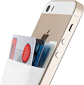 Sinjimoru Credit Card Holder for Back of Phone, Adhesive Phone Card Wallet Stick-on Cell Phone Sleeve Pocket for iPhone Case. Sinji Pouch Basic 2, White