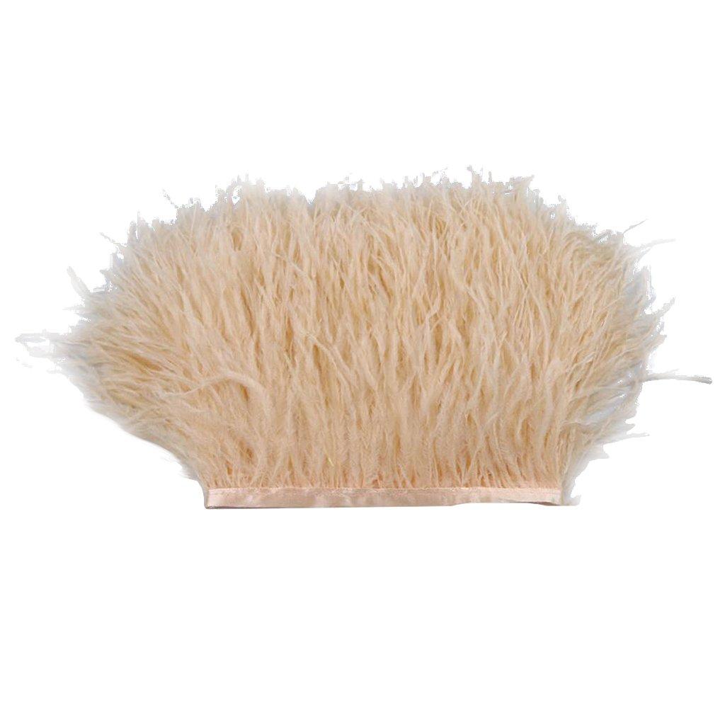Homyl 1 Yarda de Adorno de Pluma de Avestruz Atractivo Adecuado para Sombrerería Disfraces - Crema