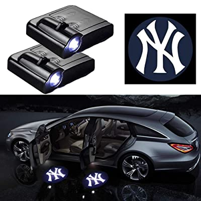 For NY Yankees Car Door LED Welcome Light, 2Pcs Car Door Courtesy Light Logo Projector Shadow Ghost Light Lamp Fit for All Models (For Yankees): Automotive