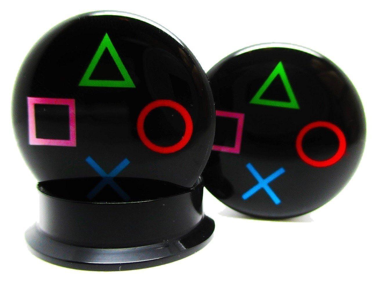 Screw on NEWPair Acrylic Pierced Republic Playstation Controller Ear Plugs