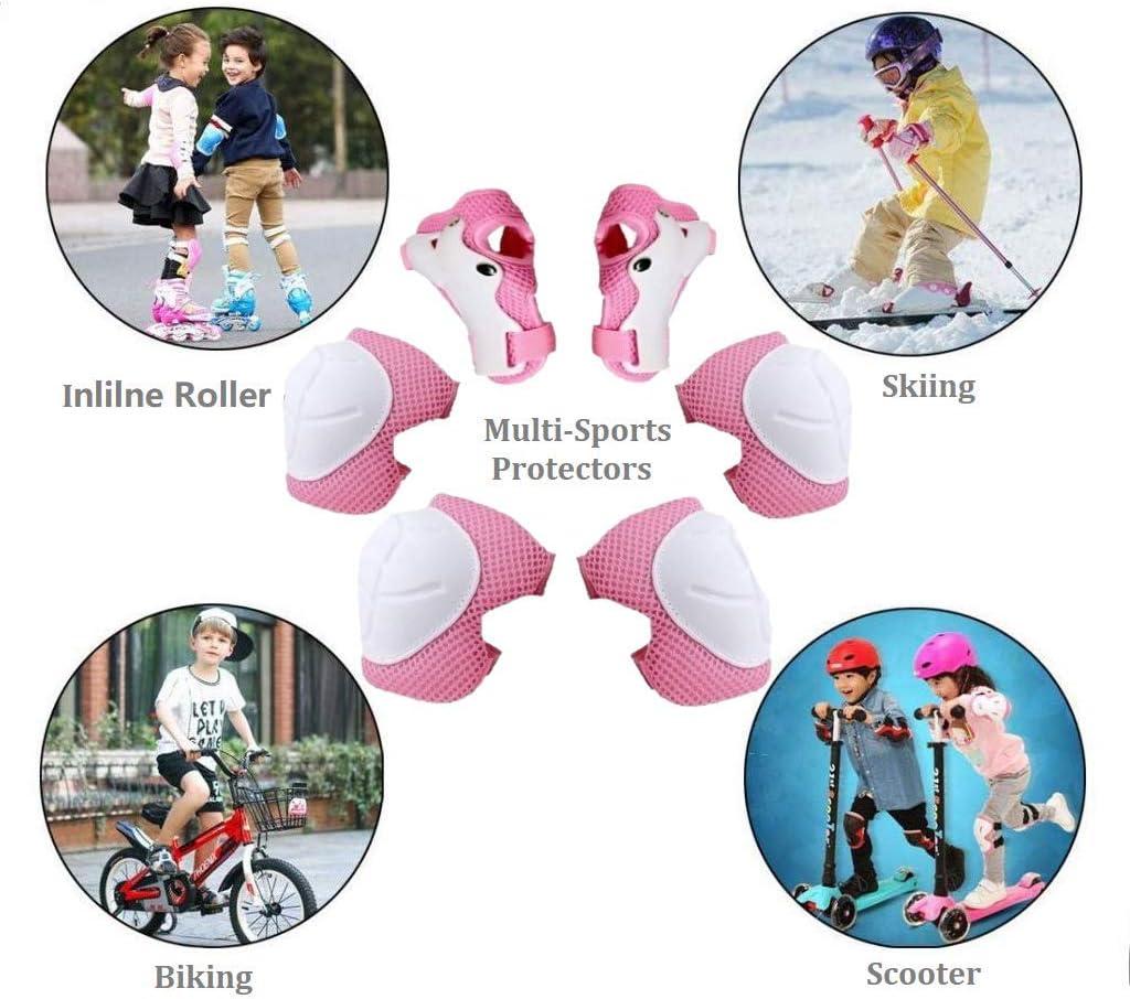 6 en 1 Kit de Protection Roller R/églable Genouill/ères Coudi/ères Prot/ège-Poignets pour V/élo//Patinage//Cyclisme COOLGO Genouill/ères Set de Protection Skateboard pour Enfant