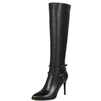 Nine Seven Genuine Leather Women's Pointed Toe Stiletto Heel Handmade Rivets Dressy Knee Boots