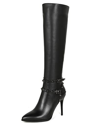 f42985369cc Nine Seven Genuine Leather-Women's Pointed Toe-HIgh Stiletto Heel-Handmade  Rivets Strappy Dressy Sexy Knee High Boots
