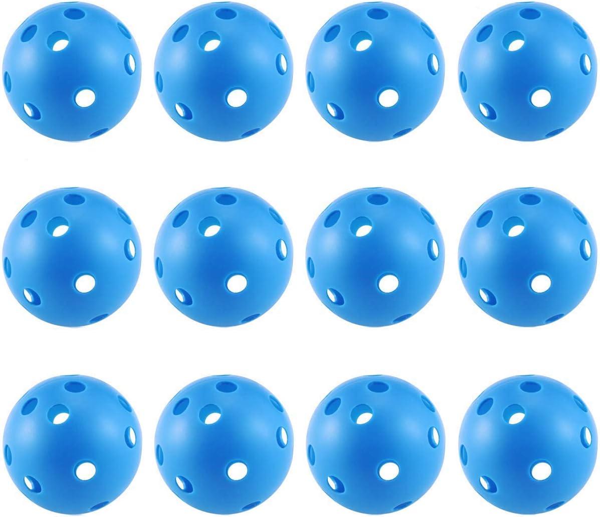 TM Adahill 12PCS x 72MM Mixed Colors Floorball Pickleball Plastic Airflow Wiffle Ball Hollow Indoor Practice Ball Baseball Fun-air Scoop Ball