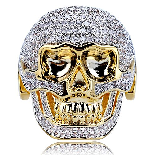 TOPGRILLZ 14K Gold and Silver Plated Fully Iced Out CZ Simulated Diamond Biker Skull Punk Ring for Men (9)