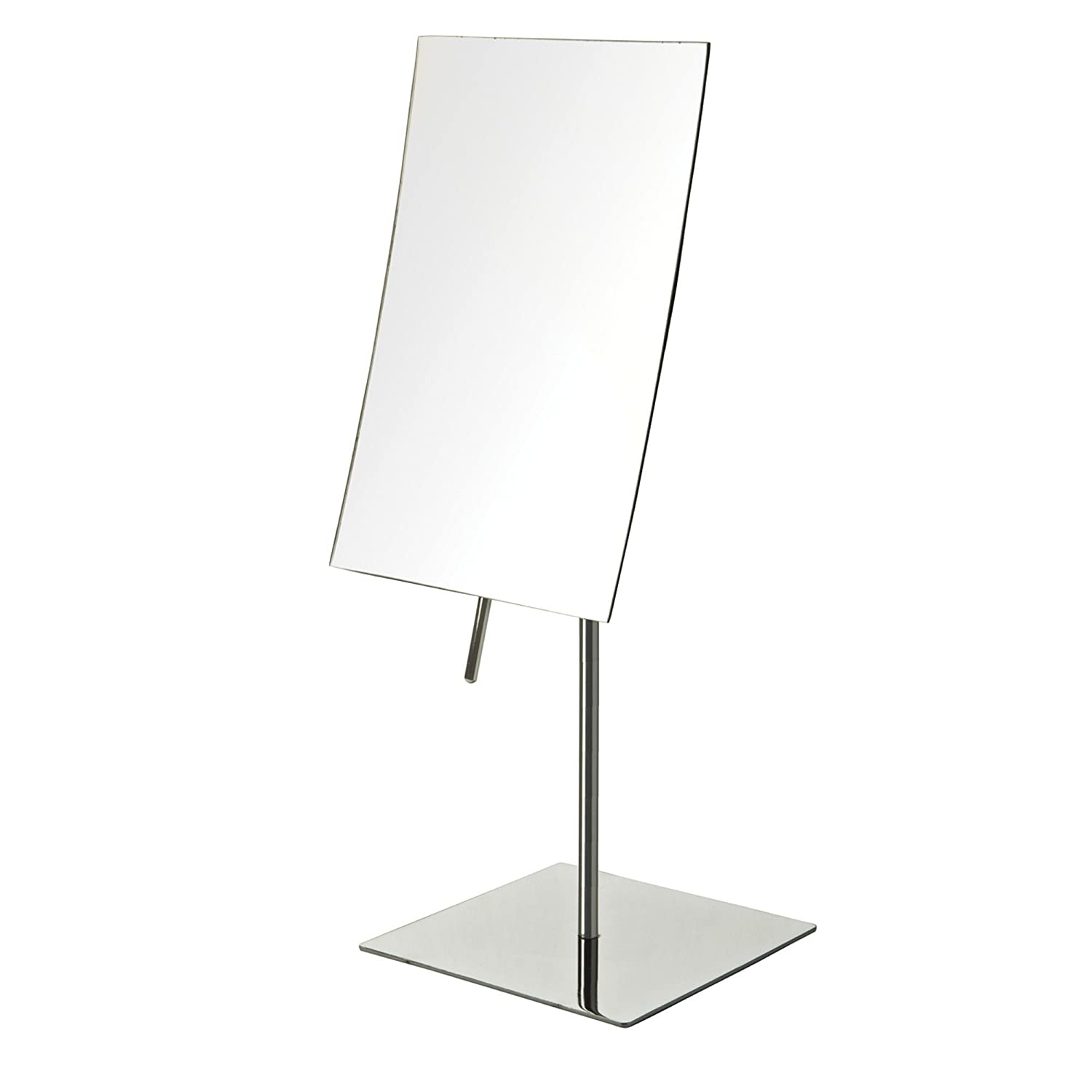 Jerdon JP358C 5-Inch by 8-Inch Rectangular Vanity Mirror with 3x Magnification, Stainless Steel Finish