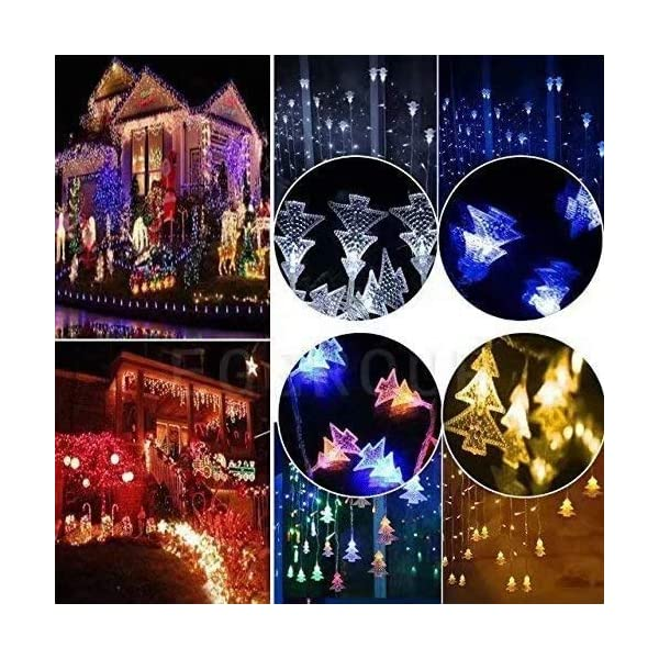 LOPSNNA Luce Natalizia,Catena Luminosa, Luci Cascata, Strisce LED, 96 Leds Luci 3.5 m Luci Stringa 8 Modalità Impermeabili IP44, per finestra, porta, patio, giardino, feste, Natale (Multicolore) 4 spesavip