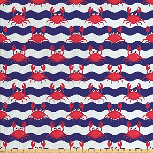 Ambesonne Crabs Fabric by The Yard, Nautical Maritime Theme Cute Crabs on Striped Background Illustration Print, Decorative Fabric for Upholstery and Home Accents, 2 Yards, Red and Navy Blue