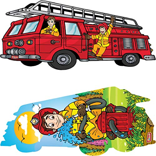 DOUzzle Big Red Fire Engine, Double Sided Jigsaw Floor Puzzles, for Toddlers and Kids Ages 3 4 5 Years Old (24 Extra Large Pieces, 3 feet Long). Side 1: Jumbo Firetruck - Side 2: Firefighter ()