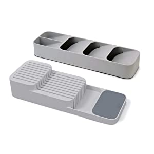 Joseph Joseph 10511 DrawerStore Set Kitchen Drawer Organizer Tray for Cutlery and Knives Gray