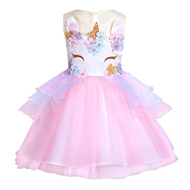 bdfb026228e Amazon.com  iEFiEL Girls Sleeveless Splice Flower Fancy Costumes Princess Birthday  Easter Party Cosplay Tutu Dress  Clothing