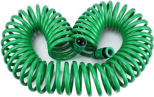 Herramientas de jardinería Serie de riego de jardín Manguera de tubo de resorte Tubo espiral telescópico con conector de agua Adaptador y conector: Amazon.es: Jardín
