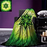 smallbeefly Lotus Warm Microfiber All Season Blanket Psychedelic Floral Mandala Ethnic Meditation Mystic Sacred Digital Image Print Artwork Image,Multicolor, Emerald Lime Green