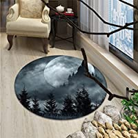 Halloween Round Area Rug Magic Castle Silhouette over Full Moon Night Fantasy Landscape Scary ForestOriental Floor and Carpets Grey Pale Grey