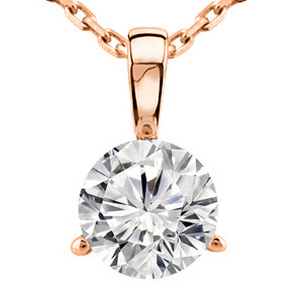 0.25 1/4 Carat 14K Rose Gold Round Diamond Solitaire Pendant Necklace 3 Prong J-K Color SI2-I1 Clarity