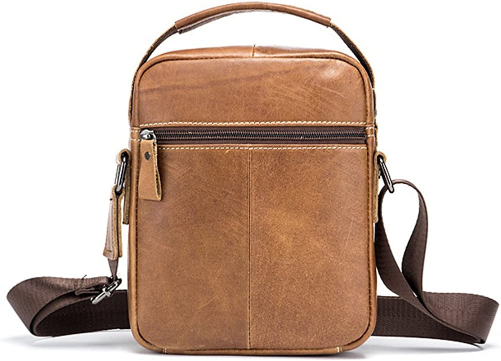 Mens Shoulder Bag,Yimidear Small Genuine Leather Man Bag Retro lightweight Cross Body Everyday Satchel Bag with Top Handle for Business Casual Sport Hiking