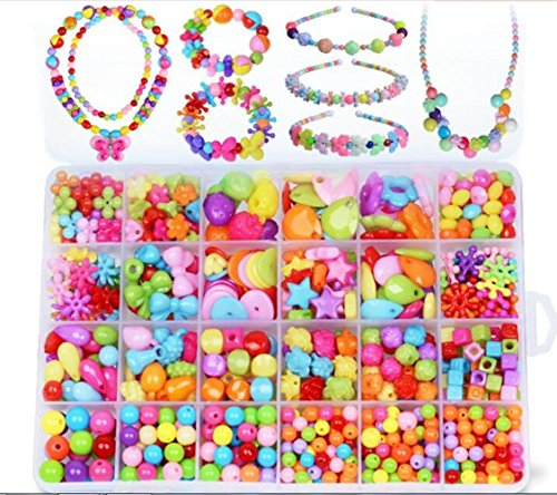Jewelry Beads Set Accessories Toys Mixed Kids Beads for Children's DIY Bracelets Necklace Early Childhood Educational Toys for Children's Day