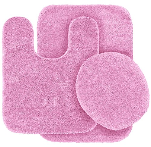 Elegant Home 3 Piece Bathroom Rug Set Bath Rug, Contour Mat, Lid Cover Non-Slip with Rubber Backing Solid Color # 6 (Light Pink)