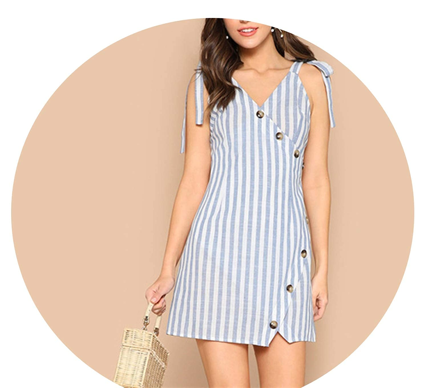 bluee Lost Stars Boho bluee Striped Summer Mini Dress Women Wrap Buttoned Sleeveless Sheath Dresses