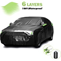 Apdo Car Cover Waterproof All Weather with 2 Windproof Straps,Sedan Full Car Cover Snow Hail Rain Sun UV Dust Protection…