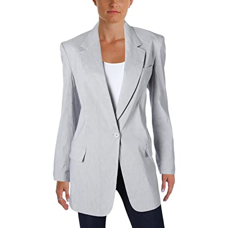 Donna Karan Womens Linen Notch Collar One-Button Blazer