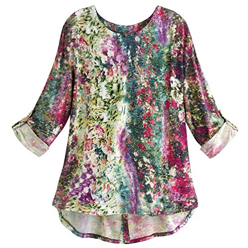 Parsley & Sage Women's Monet's Garden Tunic Top - 3/4 Sleeve Floral Print Shirt - Medium (Parsley Sage Tops And)