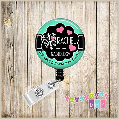 Personalized - Chest Xray with Hearts - Mint & Pink - Inside that Counts - Button Badge Reel - Retractable ID Holder - Alligator or Slide Clip Nurse Gift - Radiology - Xray Tech