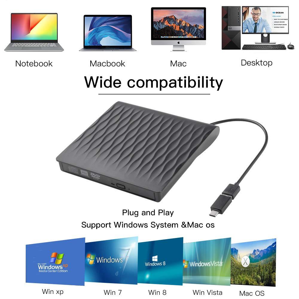 External CD DVD Drive, USB 3.0 Type C Dual Port Slim Portable External CD DVD Rewriter Burner Writer, High Speed Data Transfer External USB Optical Drives for Laptop/Macbook/Desktop/Win10/8/7 (Type C)