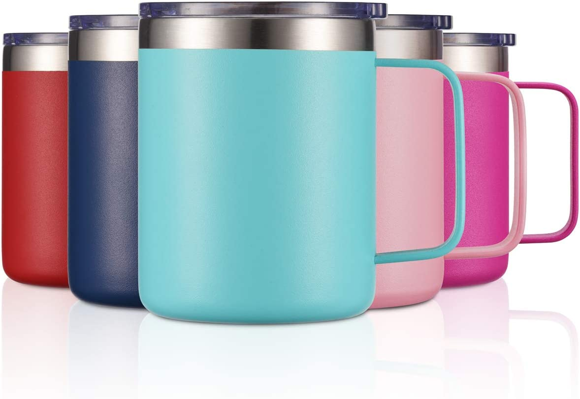 12oz Stainless Steel Insulated Coffee Mug with Handle, Double Wall Vacuum Tumbler Cup with Lid, Mint, 1 Pack