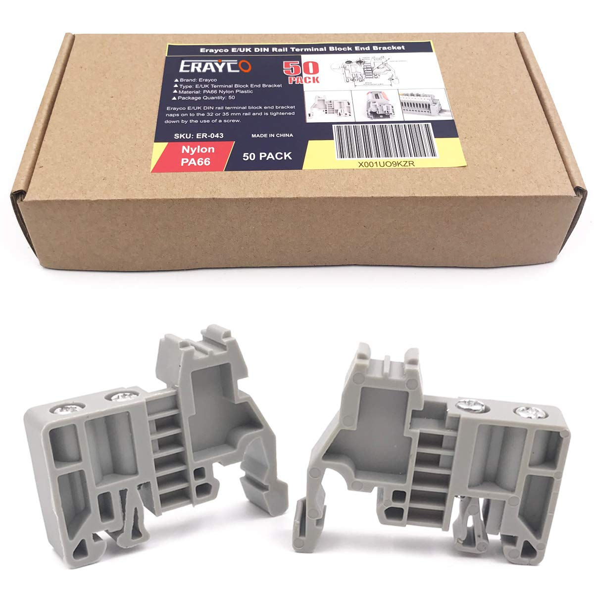 Erayco E/UK DIN Rail Terminal Blocks End Stopper Bracket Grey, Terminal Block Connector (Pack of 50) by Erayco