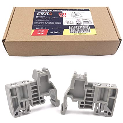 Erayco E/UK DIN Rail Terminal Blocks End Stopper Bracket Grey, Terminal  Block Connector (Pack of 50)