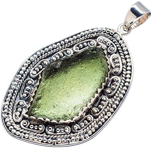 """Ana Silver Co Czech Moldavite 925 Sterling Silver Pendant 2 1/4"""""""