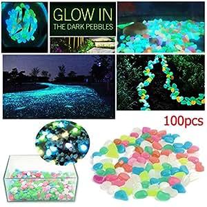Bluecookies 100pcs colorful glow in the dark pebbles garden stones for yard fish for Glow in the dark garden pebbles