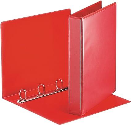 Esselte Group 49700 Essentials - Archivador para presentación (con anillas personalizable, A4, capacidad para 140 hojas, cartón recubierto de polipropileno, anillas 30 mm), color rojo: Amazon.es: Oficina y papelería