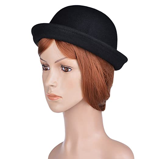 169fc8c322b VBIGER Bowler Hat Fedora Hats Winter Roll-up Brim Derby Hats for Women (New  Black) at Amazon Women s Clothing store