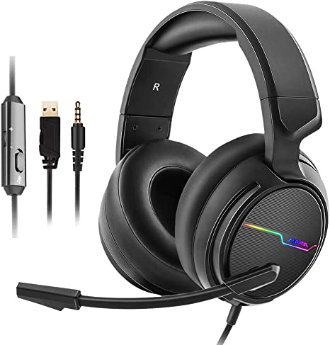 V20 PS4 Headset, Xbox one Gaming Headset with Noise Cancelling, Mic Volume Control, LED Light, Bass Surround, 3.5mm Surround Stereo Gaming Headphones