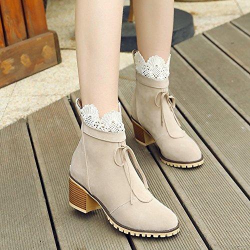Latasa Kvinna Spets Chunky Klack Boots Med Dragkedja Bak Beige