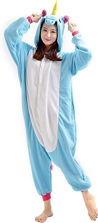 Dato Pijama onesie de cuerpo completo para adulto, disfraz, diseño unisex de unicornio, color azul